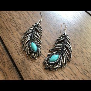 Beautiful silver feather earrings